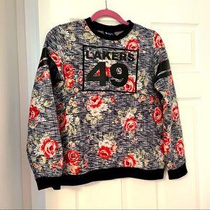 LA Lakers NBA unique floral sweatshirt size S EUC